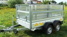 Bau + Gartenanhaenger mit Laubgitteraufsatz -  Tieflader / doppelachser 1500 kg gebremst - 100 km/h -Ladefläche: 2510 x 1280 x 1000 - Nutzlast ca. 1000 kg