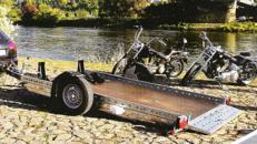 Absenkbarer Motorradanhänger 1500 kg für 2 Bikes 3010 x 1690 mm - 100 km/h