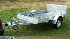 2er Motorradanhaenger manuell kippbar mit Auffahrrampe 1000 kg gebremst / mit Stossdaempfern 100 km/h - Nutzflaeche ca. L x B mm 2500 x 1550