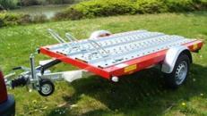 2er Motorrad - Transporter 1000 kg gebremst mit Stossdaempfern / 100 km/h - Plattformmaße: 2500 x 1500 - Nutzlast ca. 765 kg