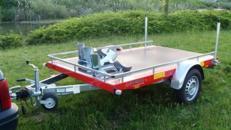 2er Motorrad - Transporter 1000 kg gebremst mit Stoßdaempfern / 100 km/h - Plattformmaße 2500 x 1500 - Nutzlast ca. 765 kg
