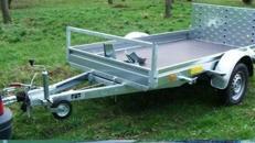 1er Motorrad - Transporter kippbar mit Rampe 1000 kg gebremst / mit Stossdaempfern 100 km/h - Ladeflaeche L x B mm 2510 x 1350 - Nutzlast ca. 750 kg
