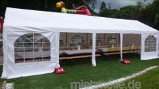 Partyzelt 4x10 Meter Zeltverleih, hohe Qualität von Gestänge und Planen - auch andere Größen verfügbar