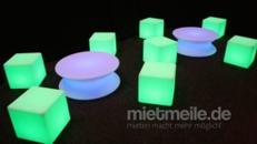 LED Cube weiß Sitzwürfel Beleuchtet mit Akku - Mieten