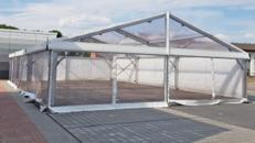 Festzelt Zelt Partyzelt Polyglaszelt - 10x15 Meter mit Polyglas (transparente Planen) und Boden