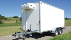 Tiefkühlanhänger / Tiefkühlwagen 3000 kg doppelachser 3948 x 1796 x 2000 mm bis – 18°C – 100 km/h mit Rohrbahnen für den hängenden Fleischtransport