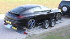 Luftgefederter absenkbarer großer Autotransporter  3500 kg gebremst mit Stoßdämpfern + Funkfernbedienung /  100 km/h