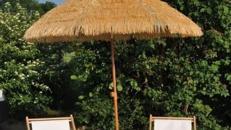 Sonnenschirm Bastoptik inklusive Schirmständer inkl.19% MwSt.