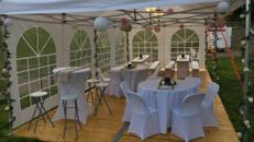 Partyzelt, Event Pavillon Zelte inkl. Tische Stühle Hussen >KOMPLETT ANGEBOT<