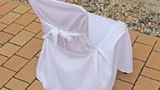 Stuhlhussen Husse mit Schleife Universalhusse Rom in weiß inkl. Reinigung