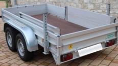Anhänger Pritsche offen Transportanhänger Baumaschinenanhänger mit Auffahrrampen Umzugsanhänger