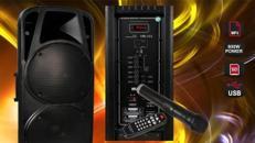 Mobile Beschallungsanlage 800W, SD/USB, Bluetooth mit Akku 3-6 Stunden Laufzeit, für Party oder Präsentationen