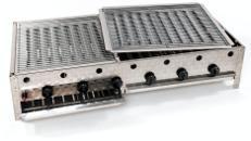 Gasgrill 6-flammig (24 kW) mit 2-teiligem Grillrost, 6 Flammrohre / 18 Brennleisten, Gastro Profi Grill