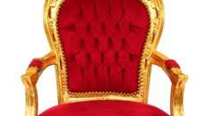 Barockstuhl Rot/Gold - Stuhl Antik - Armlehnstuhl Barock