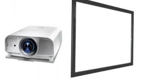 Präsentationsset Leinwand und Beamer, Bildwand und Datenprojektor, Videobeamer mit Mobileleinwand, Präsentationsset