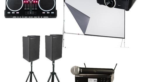 Präsentationsset Leinwand, Beamer, Lautsprecher und Funkmikrofone