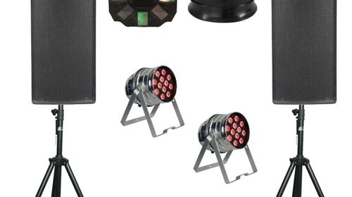 Party S  Komplettset Ton + Licht Musikanlage, Partyanlage, Tonanlage, Beschallungsanlage, Lichtanlage, Beleuchtungsanlage LED, Lichteffekten, Lautsprecher Boxen, Basslautsprecher