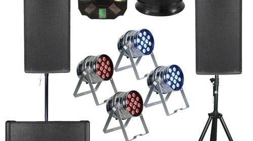 Party L  Komplettset Ton + Licht Musikanlage, Partyanlage, Tonanlage, Beschallungsanlage, Lichtanlage, Beleuchtungsanlage LED, Lichteffekten, Lautsprecher Boxen, Basslautsprecher