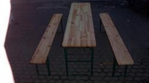 Bierzeltgarnitur, 3teilig, 1 Tisch 220cm x 50cm, 2 Bänke a 220cm x 25cm