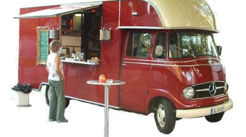 Kaffeebar-Mobil / Promotion-Fahrzeug / Mercedes 316 / Kaffeemobil / Catering / Event / Messe / Party / mobile / oldtimer