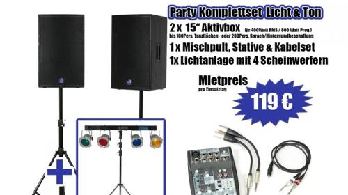 Partykomplett Set Licht & Ton für 100 Personen