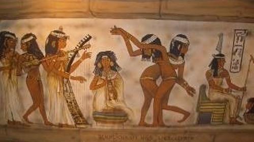 Ägyptische Wandmalereien Kulissen, Kulisse, ägyptisch, Ägypten, Wandmalerei, Malerei, Hieroglyphen, Kryptisch, Pyramide