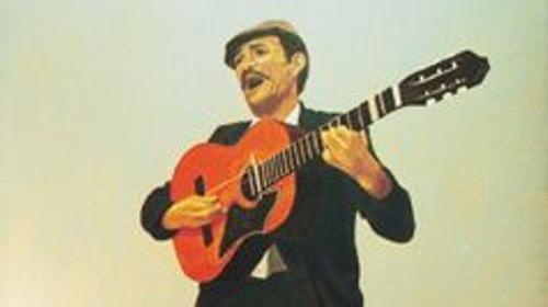 Spanische Sänger Kulisse, Sänger, spanisch, Spanien, Sängerkulisse, Gitarrenspieler, Gitarre, Dekoration, Minnesänger