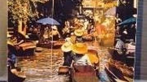 Schwimmender Markt Kulisse, Kulisse, Markt, Schwimmender Markt, Wasser, Wassermarkt, Boot, Dekoration, Veranstaltung