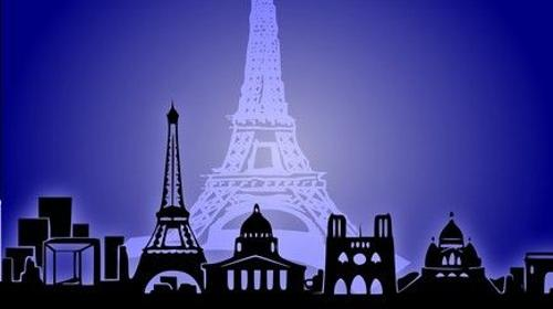 Silhouette von Paris Kulisse, Kulisse, Paris, Frankreich, französisch, Eiffelturm, Skyline, Stadt, Dekoration, Event