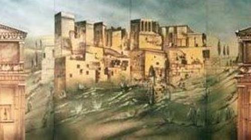 Griechenland Stadt Kulisse, Kulisse, Griechenland, Grieche, griechisch, Antik, Tempel, Tempelanlange, Säulen