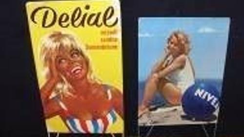 Kiosk Werbetafeln Delial & Nivea 60er Jahre, 60er Jahre, Nivea, Delial, Kiosk, Werbetafel, Tafel, Werbung, Display