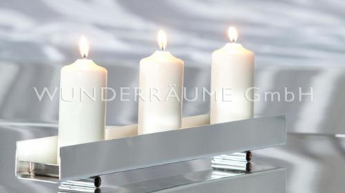 Kerzenständer - verchromt, L: 50/ 100 cm WUNDERRÄUME GmbH vermietet: Dekoration / Kulisse für Event, Messe, Veranstaltung, Incentive, Mitarbeiterfest, Firmenjubiläum