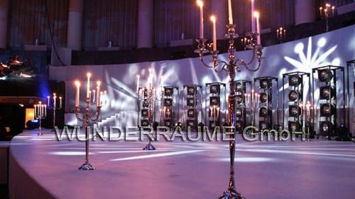 Kerzenleuchter 5-armig, verchromt 150cm WUNDERRÄUME GmbH vermietet:Dekoration / Kulisse für Event, Messe, Veranstaltung, Incentive, Mitarbeiterfest, Firmenjubiläum