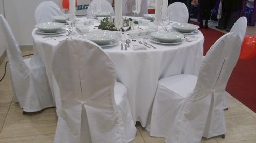 Tischdecke rund 220cm Durchmesser weiß