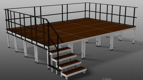 Komplette Bühne 6 x 6 m ink. Geländer und Treppe