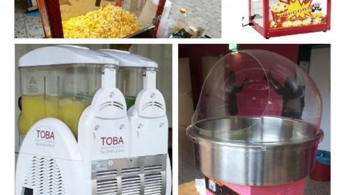 Popcornmaschine, Zuckerwatte, Mandeln, Crepes