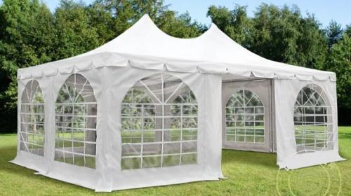 Faltzelt Pagode 3x6m Weiß, mit 6 wänden