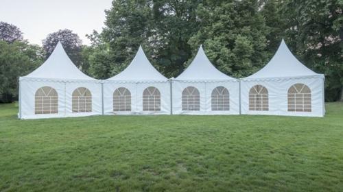 Faltzelt Pagode 6x6m Weiß, mit 6 wänden