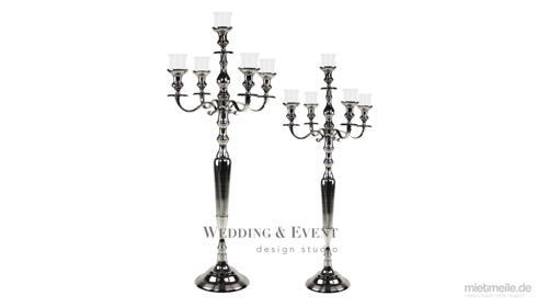 Silber Kerzenständer 5-Arm inkl. Glasaufsatz - 80cm oder 100cm - Hochzeitsdekoration Event Kerzenhalter Kerzenleuchter Hochzeit Stuttgart München Ulm Frankfurt am Main Konstanz