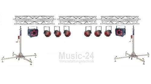 Lichtanlage 6m Traversen, 6x Led Scheinwerfer, 2x Tri Phase, Lichteffekt