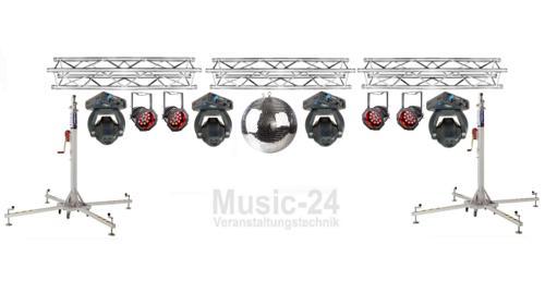 Lichtanlage 8m Traversen, 2x Phantom50, 8x Led Scheinwerfer, 2x Tri Phase, Lichteffekt