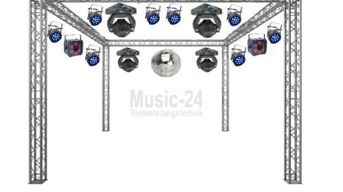 Großes Lichtset / Lichtanlage mit 6x6m Traversenstand, LED Moving Heads, Led Scheinwerfer, Lichteffekte