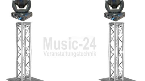 Lichtset 2x Traversenstempel LED Moving Heads, Global Truss F34 Traversen, Stahlbodenplatten