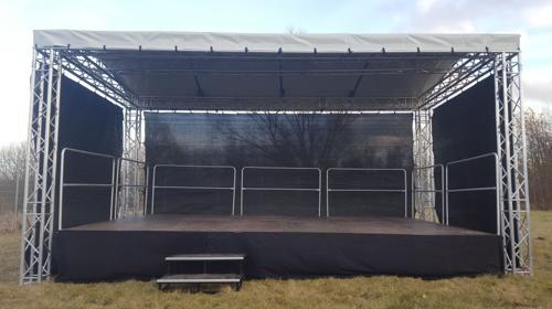 6x4m Open Air Bühne, Giebeldachbühne, Showbühne, Eventbühne, Bühnendach
