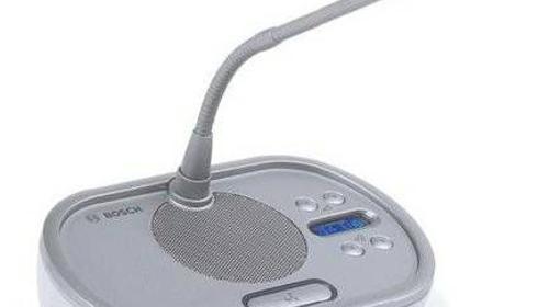 Bosch DCN-DISCS-D Delegiertensprechstelle mit langem Schwanenhals, 1-Kanalwähler, 2 Kopfhöreranschlüsse, integrierter Lautsprecher