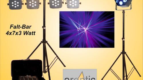 LED-Lichtanlage - Discolicht - Lichtorgel mit Stativ - Falt-Bar zusammengeklappt superkompakt zu transportieren