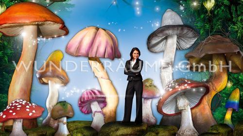 43 Pilze XXL von 0,60 - 3 m Höhe, WUNDERRÄUME GmbH vermietet: Dekoration/Kulisse für Event, Messe, Veranstaltung, Incentive, Mitarbeiterfest, Firmenjubiläum