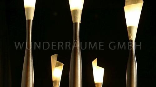 Teakbaumlampen - WUNDERRÄUME GmbH vermietet: Dekoration/Kulisse für Event, Messe, Veranstaltung, Incentive, Mitarbeiterfest, Firmenjubiläum
