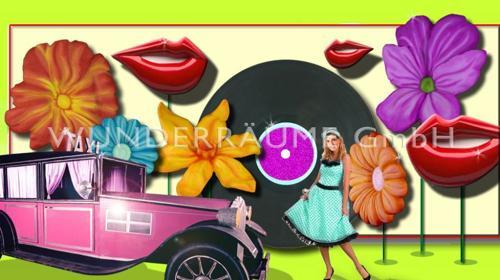 Bunte Dekoration im 50er Jahre USA Stil; WUNDERRÄUME GmbH vermietet: Dekoration/Kulisse für Event, Messe, Veranstaltung, Incentive, Mitarbeiterfest, Firmenjubiläum