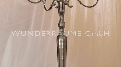 Kerzenleuchter; 5-armig, verchromt; 150cm WUNDERRÄUME GmbH vermietet: Dekoration / Kulisse für Event, Messe, Veranstaltung, Incentive, Mitarbeiterfest, Firmenjubiläum